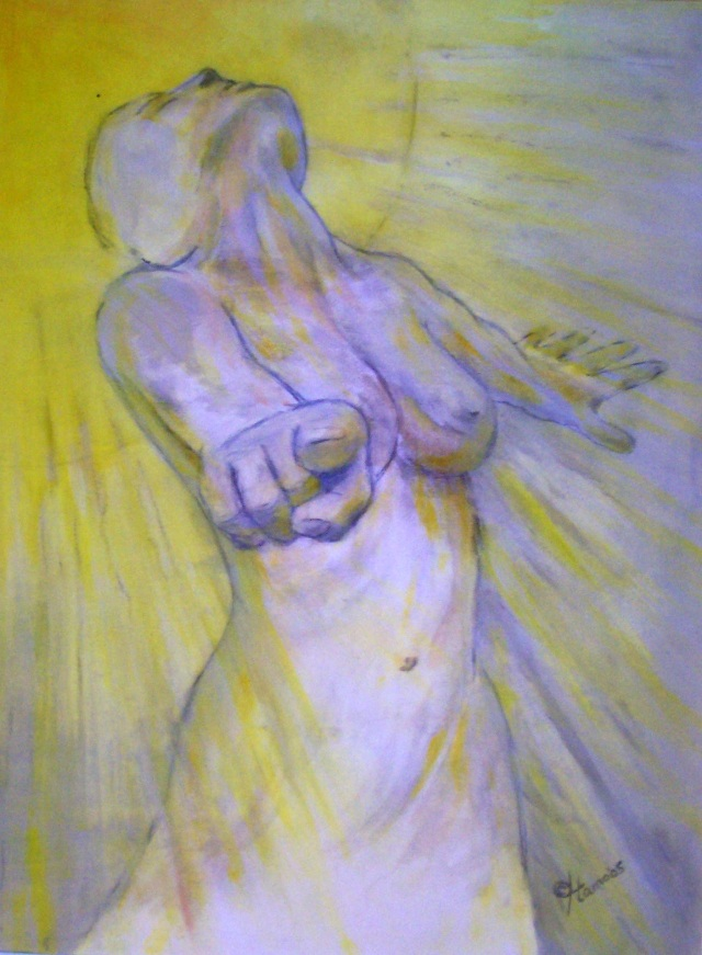 'vStrength 1'v, woman sketch, acryl op papier, 70x50 cm, in museumframe 2005