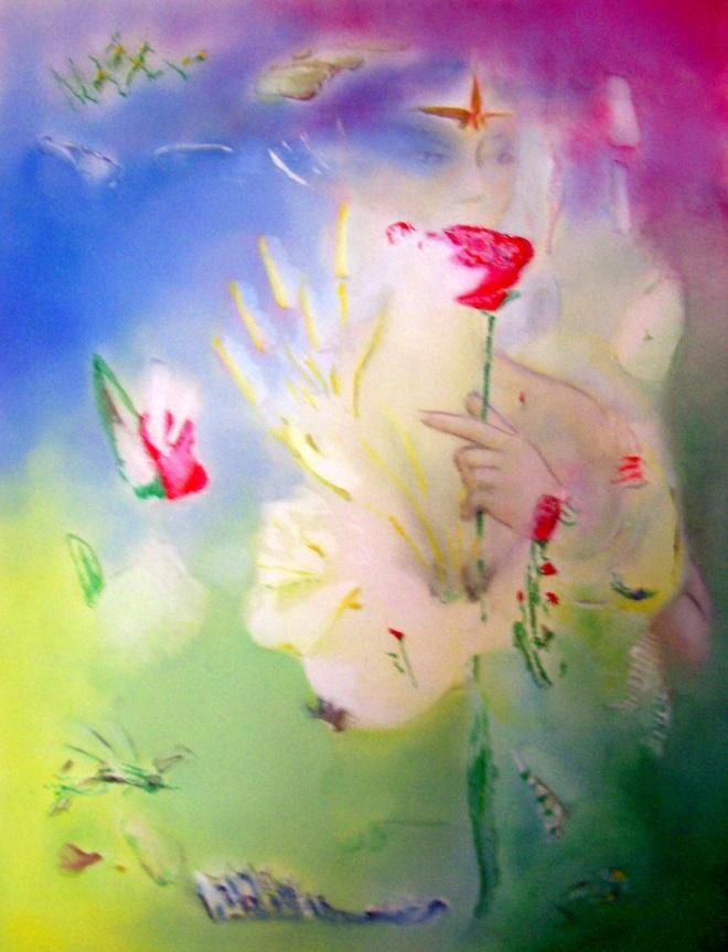 The Flower, 'accidental techniek', dus spontaan ontstaan. Olieverf op canvas, 70x49cm, 2008