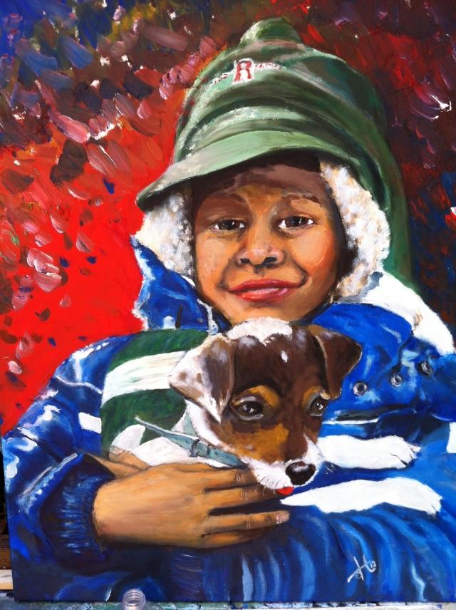 Jongen met hond, olieverf op canvas 70x50cm, 2014