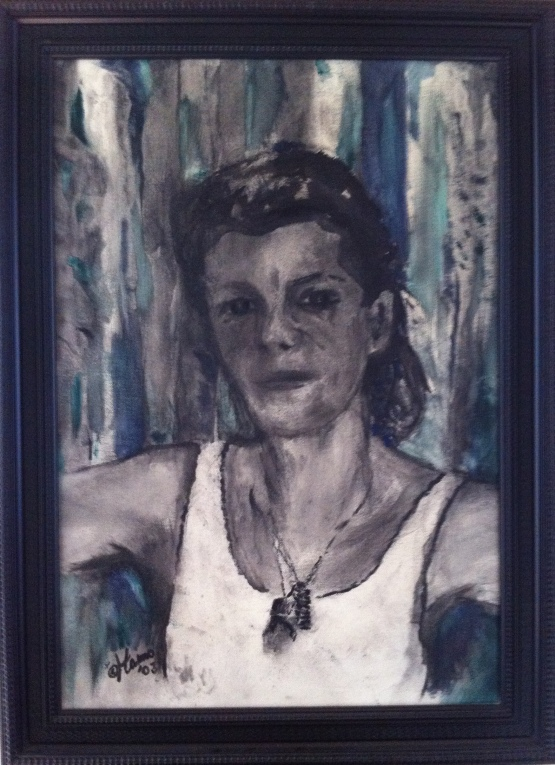Portret Carla, houtskoool met tint olieverf op paneel, 55x35cm, ingelijst, 3002