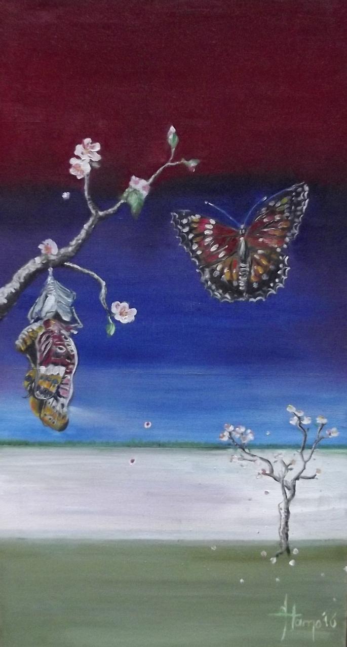 twee vlinders met bloesem